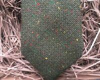 Green Necktie / Green Tweed Mens Necktie / Mens Green Flecked Wool Necktie