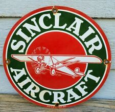 VINTAGE SINCLAIR AIRCRAFT PORCELAIN ENAMEL GAS STATION PUMP SIGN EARLY RARE