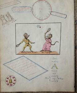 c1780-1810 BATTLEDORE & SHUTTLECOCK CARTOON DOG & CAT PLAYING & RIDDLES ANAGRAMS