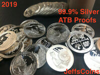 2019 S Only 1 Troy Ounce 99% Silver Round Quarters 5x Proof Coin Lot Oz ATB .999