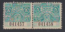 Argentina, Santa Fé, MNH. 1921 5p Comision de Fomento Talon & Conjtrol pair