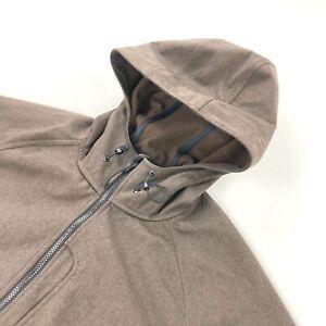LL Bean Men's Fleece Lined Full Zip Hooded Jacket Brown • 2XL