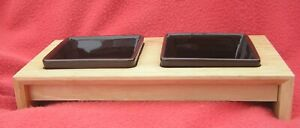 TRIXIE pair of black square cat bowls in raised wooden platform - VGC