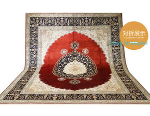 8x10FT Flowers 100% Silk Rugs Hand Knotted Carpets Red Luxury