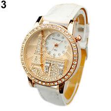 Women Lady Eiffel Tower Dial Faux Leather Band Quartz Wrist Watch Luxury