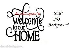 Welcome to our Home decal sticker for Front door Glass Block Shadow Box