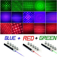 1mw 6in1 Green Red Blue Purple Laser Pointer Pen Visible Beam Light Star Caps