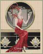 Art Déco Dama en Rojo Vestido W/ Martini Punto de Cruz Kit Completo