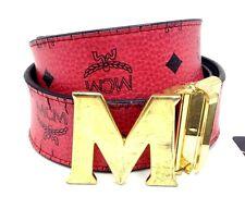 $325 Mcm Mens Red Black Big M Gold Logo Reversible Buckle Leather Belt Size 38