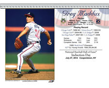 GREG MADDUX ATLANTA BRAVES 8X10 2014 HALL OF FAME INDUCTION DAY CARD