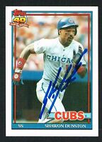 Shawon Dunston #765 signed autograph auto 1991 Topps Baseball Trading Card