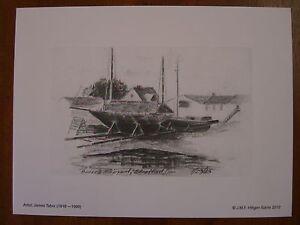 Bedell's Shipyard, Stratford,CT;7/29/46 Vintage Sketch by JamesTabor-Lithograph