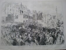 Sackville Street Dublin The O'Connell Centenary and banquet 1875 old prints