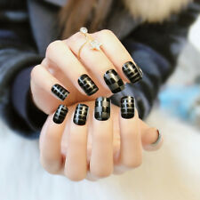 New 24pcs Lattice and stripes Black Short Nail Tips with Design in box Fake Nail