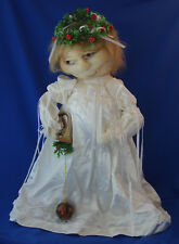 "21"" nylon stocking face Christmas Angel figure in white dress hand made"
