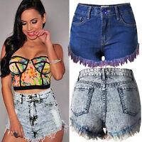 Women Denim Slim Shorts Tassel Hole High Waist Short Jeans Hot Pants Bottoms