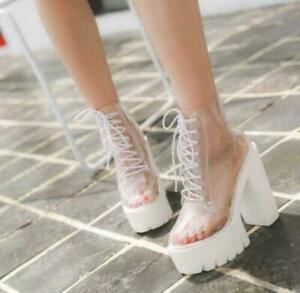 Womens Platform Super High Block Heel Clear Transparent Ankle Boots Rainboot sz