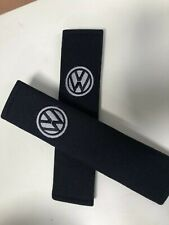 Embroidered Vw Universal  Seat Belt Shoulder Pads Pair Black And Silver