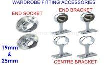 Chrome Rail Wardrobe Fitting Tube Hanging Bracket Centre End Brackets 19mm 25mm