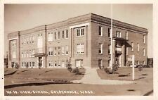 Goldendale WA New High School w/Young Trees~Sign to Mabton~Brick RPPC 1920s