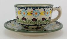 Bunzlauer Keramik Tasse mit Unterteller (F036-IF45) Marienkäfer; 0,3 Liter