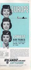 "1962 Icelandic Airlines ""Lowest Air Fare to Europe"" Stewardess Pictures PRINT AD"