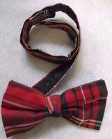 Vintage Bow Tie MENS Dickie Bowtie Retro Adjustable RED TARTAN