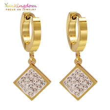 Ear Jewelry Small Clear Round Cubic Zircon Gold Plated Lady Link Drop Earrings