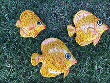 Mexican Ceramic Clay Fishes Yellow 3 Set Folk Art Wall Decorate Your Home Cute