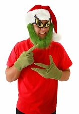 Dr Seuss Grinch Santa Adult Costume Hat With Beard Elope