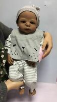 "23"" Black Reborn Baby Dolls Toddler Boy Full Body Silicone African American Doll"