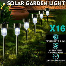 16PCS LED Solar Lawn Lamp Stainless Steel Garden Outdoor Landscape Path