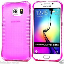 Pink Transparent Hand Grip Clear Bumper Case Cover For Samsung Galaxy S6 Edge