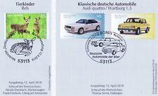 Rfa 2018 : Cerf, Audi Et Wartburg: Auto-Adhésif No. 3377+3378+3379 ! 1A! 1910