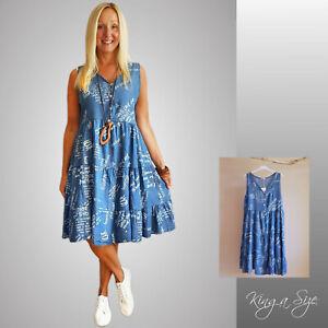ITALY Sommer Kleid Gestuftes Hängerkleid Jeanskleid in verwaschenem blau Gr.38