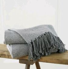 Luxury Elegant Sofa Throw Soft Chair Bed Blanket Chevron Weave Fringed Cotton