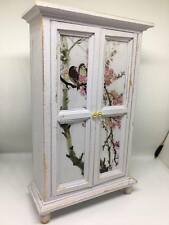 1:12th dolls house miniature shabby chic hand painted grey wardrobe bird decals