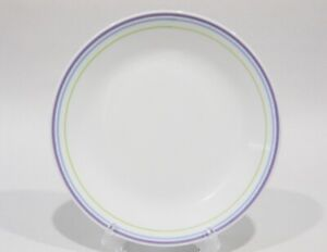 """1 Corelle MOONGLOW 8 1/2"""" LUNCH Luncheon PLATE *Purple Blue Green BANDS *New"""