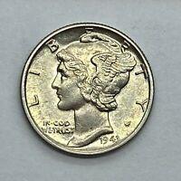 1943 (P) Mercury Dime, Uncirculated - 90% Silver .10 US Coin *1c19