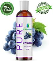 Grapeseed Oil 4 oz 100% Pure Natural Carrier Cold Pressed For Skin Hair massage