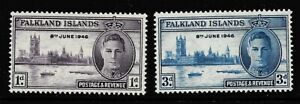 KING GEORGE VIth VICTORY STAMPS. FALKLAND ISLANDS. SG164-165. MOUNTED MINT.