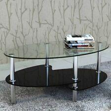 Mesa de Centro Diseño Exclusivo 2 Niveles Vidrio Mesita Blanca/Negra Familia