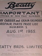 Repair Price List for Beatty Hay Carrier & Grain Grinder 1955