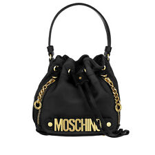 Moschino Couture Jeremy Scott Black Bucket Bag with Gold Logo MADE IN HEAVEN M