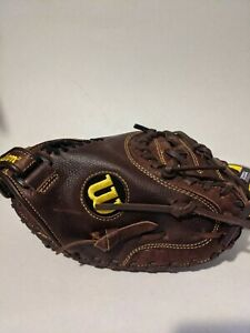 """Wilson A800 32"""" Catchers Mit Soft Fit Brown Leather Broken In Right Hand Throw"""