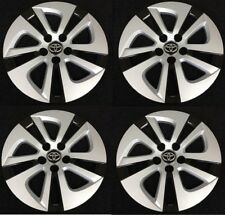 "15"" Silver Black Hubcap Wheelcover Set AM Fits 2016-2017 Toyota PRIUS"