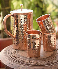 Pure Copper Beautiful Hammered 1.5 liter Jug and 4 copper glass set -UK
