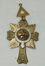 1917 Masonic IN HOC Signo Vinces Medal 14K Gold Patchogue Commandery
