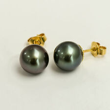 TAHITIAN PEARL GOLD EARRINGS 9.6mm PEARLS GENUINE 18K 750 18CT GOLD STUDS NEW