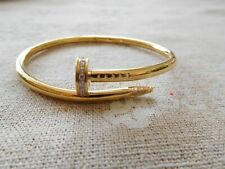 Cartier Juste un Clou Size 17 18k Yellow Gold Diamond Nail Bracelet